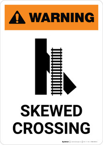 Warning: Skewed Crossing with Icon 1 ANSI Portrait - Wall Sign