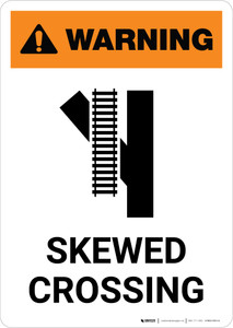 Warning: Skewed Crossing with Icon 4 ANSI Portrait - Wall Sign