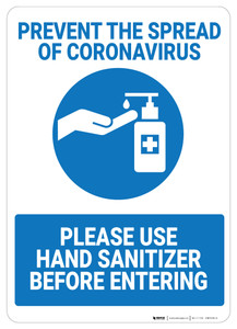 Prevent Coronavirus - Please Use Hand Sanitizer - Wall Sign