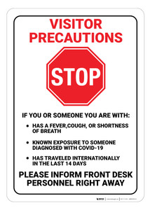 Visitor Precaution Covid-19 - Wall Sign