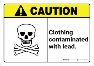 Caution: Clothing Contaminated With Lead with Icon ANSI Landscape