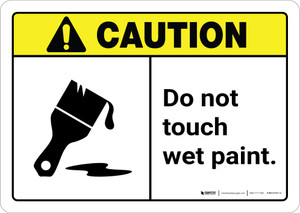 Caution: Do Not Touch Wet Paint with Icon ANSI Landscape