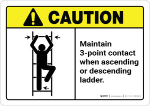 Caution: Maintain 3-Point Contact When Ascending Or Descending Ladder ANSI Landscape