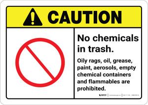 Caution: No Chemicals in Trash ANSI Landscape