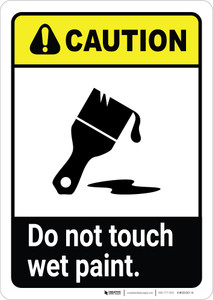 Caution: Do Not Touch Wet Paint with Icon ANSI Portrait