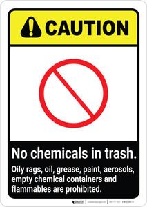 Caution: No Chemicals in Trash ANSI Portrait
