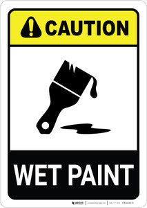 Caution: Wet Paint with Icon ANSI Portrait