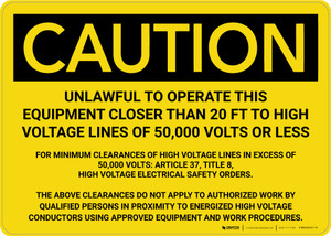 Caution: Unlawful To Operate This Equipment Landscape