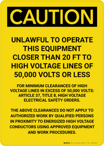 Caution: Unlawful To Operate This Equipment Portrait
