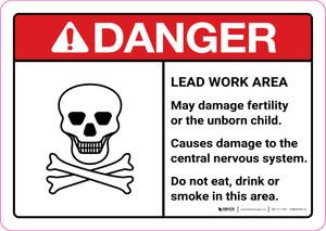 Danger: Lead Work Area May Damage Fertility or Cause Nerve Damage ANSI Landscape