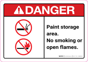Danger: Paint Storage Area - No Smoking or Open Flames ANSI Landscape
