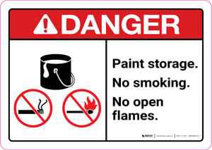 Danger: Paint Storage - No Smoking/No Open Flames ANSI Landscape