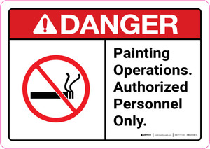 Danger: Painting Operations - Authorized Personnel Only ANSI Landscape