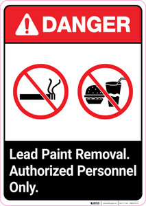 Danger: Lead Paint Removal - Authorized Personnel Only ANSI Portrait