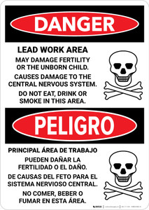Danger: Lead Work Area May Damage Fertility Bilingual Portrait