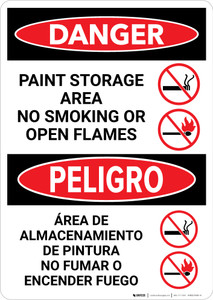 Danger: Paint Storage Area - No Smoking or Open Flames Bilingual Portrait