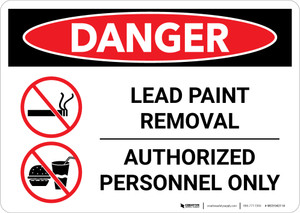 Danger: Lead Paint Removal - Authorized Personnel Only with Icons Landscape