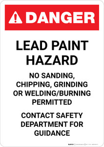 Danger: Lead Paint Hazard - Contact Safety Department for Guidance Portrait