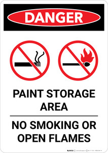 Danger: Paint Storage Area - No Smoking Or Open Flames Portrait