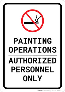 Painting Operations - Authorized Personnel Only with No Smoking Icon Portrait