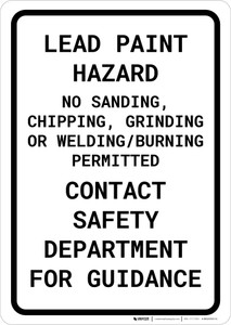 Lead Paint Hazard - No Sanding/Chipping/Grinding/Welding/Burning Portrait