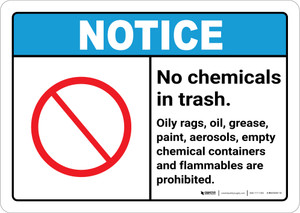 Notice: No Chemicals or Flammable Materials in Trash ANSI Landscape