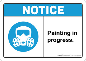 Notice: Painting in Progress with PPE Icon ANSI Landscape