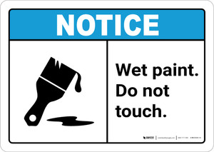 Notice: Wet Paint - Do Not Touch with Icon ANSI Landscape