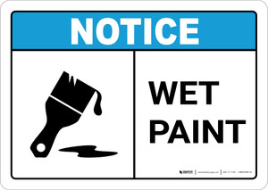 Notice: Wet Paint with Icon ANSI Landscape