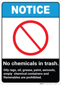 Notice: No Chemicals or Flammable Materials in Trash ANSI Portrait