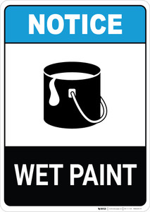 Notice: Wet Paint with Icon ANSI Portrait