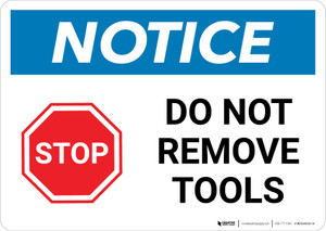 Notice: Stop: Do Not Remove Tools Landscape