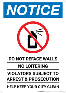 Notice: Do Not Deface Walls - No Loitering Portrait