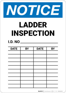 Notice: Ladder Inspection Chart Portrait