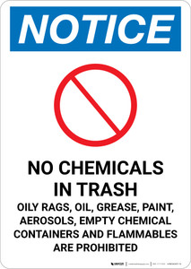 Notice: No Chemicals or Flammable Materials In Trash Portrait