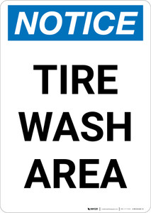 Notice: Tire Wash Area Portrait
