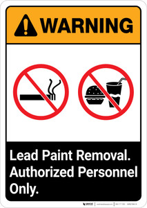 Warning: Lead Paint Removal - Authorized Personnel Only ANSI Portrait