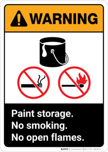 Warning: Paint Storage - No Smoking/Open Flames ANSI Portrait