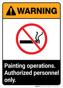 Warning: Painting Operations - Authorized Personnel Only ANSI Portrait