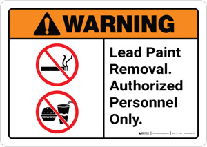 Warning: Lead Paint Removal - Authorized Personnel Only  ANSI Landscape