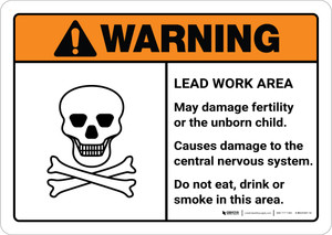 Warning: Lead Work Area May Damage Fertility or Nervous System ANSI Landscape