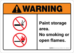 Warning: Paint Storage Area - No Smoking/Open Flames ANSI Landscape