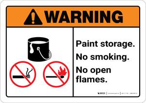 Warning: Paint Storage - No Smoking/Open Flames ANSI Landscape