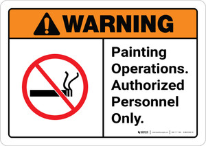Warning: Painting Operations - Authorized Personnel Only ANSI Landscape