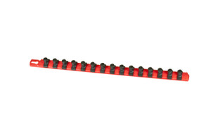 """18"""" Magnetic Socket Organizer and 15 Twist Lock Clips - Red - 1/2"""""""