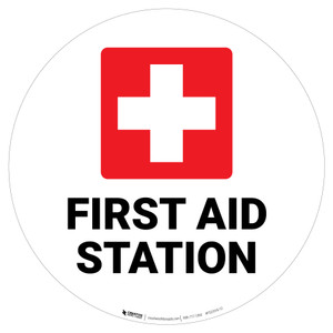 First Aid Station with Icon - Floor Sign