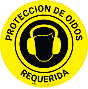 Ear Protection Required Spanish - Floor Sign