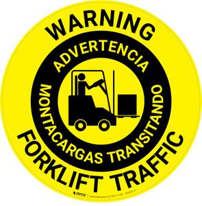Warning: Forklift Traffic Bilingual Spanish
