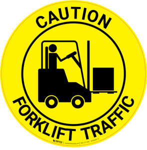 Caution: Forklift Traffic - Floor Sign