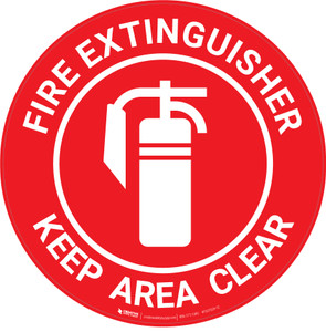 Fire Extinguisher - Keep Area Clear - Floor Sign